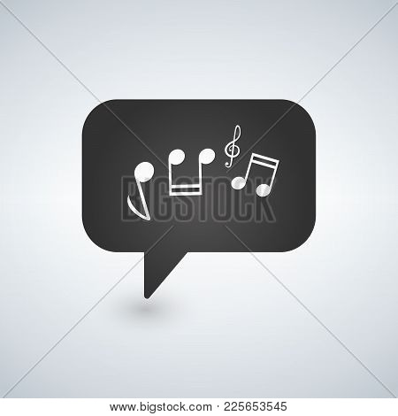 Illustration Of A Chat Bubble Icon With A G Clef And Music Notes. Vector