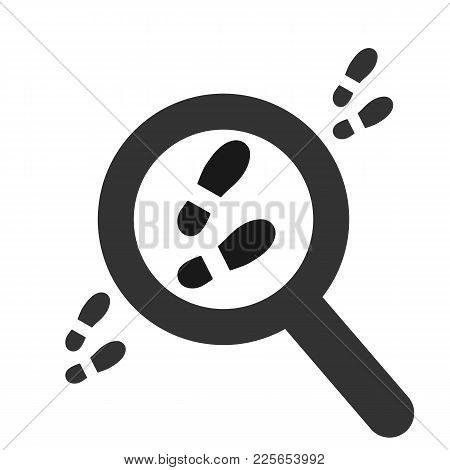 Footpath. Human Shoe Footprints. Vector Footwears. Magnifier Searching A Footsteps. Black Silhouette