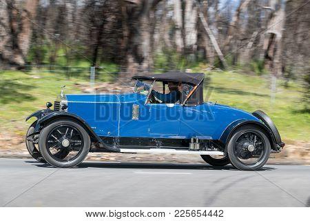 Adelaide, Australia - September 25, 2016: Vintage 1922 Rolls Royce 20hp Roadster Driving On Country