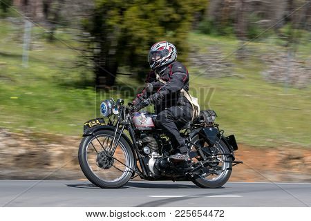 Adelaide, Australia - September 25, 2016: Vintage 1939 Bsa Wm20 Motorcycle On Country Roads Near The