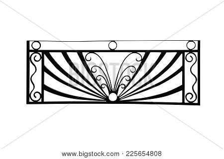 Black Steel Railing Isolated On White, With Clipping Path.