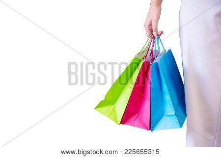 Woman With Shopping Bags Isolated On White Background, Consumerism And Sale Concept.
