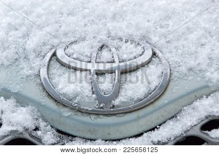 Pruszcz Gdanski, Poland - February 5, 2018: Toyota Logo Covered By Snow At Winter Time.