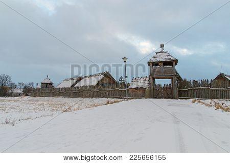 Pruszcz Gdanski, Poland - February 5, 2018: Historical Settler Village Faktoria At Winter Time In Pu