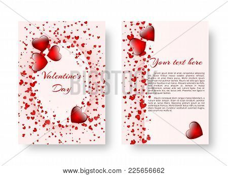 Template Of Wedding Invitation With Bright Scarlet Hearts For Romantic Design. Vector Illustration