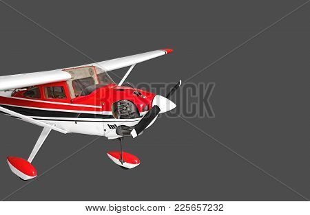 Closeup Radio Controlled Airplane Isolated On Gray Background, Clipping Path
