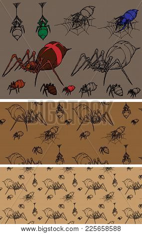 A Series Of Colored Icons Spiders On Brown And Beige Background And Pattern With Them