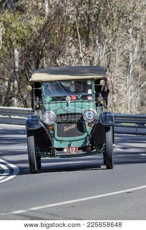 Adelaide, Australia - September 25, 2016: Vintage 1915 Hupmobile N Tourer Driving On Country Roads N