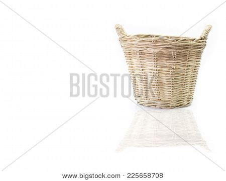 Wicker Basket Isolated On White Background.  Old Wicker Basket Vintage Style.
