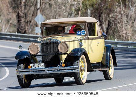 Adelaide, Australia - September 25, 2016: Vintage 1929 Nash Advanced 6 Cabriolet Driving On Country