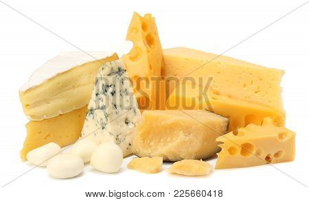 Variety Of Cheese Isolated On White Background. Different Sorts Of Cheese.