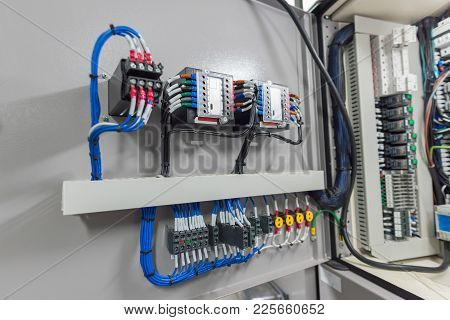 Electrical Switchgear Room Or Industrial Electrical Switch Panel.