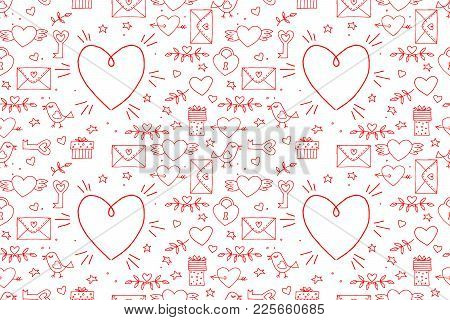 Seamless Doodles Valentine's Pattern. Cartoon Romantic Objects: Heart, Wings, Branch With Leaves Bir
