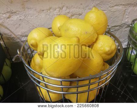 Lemons in steel basket