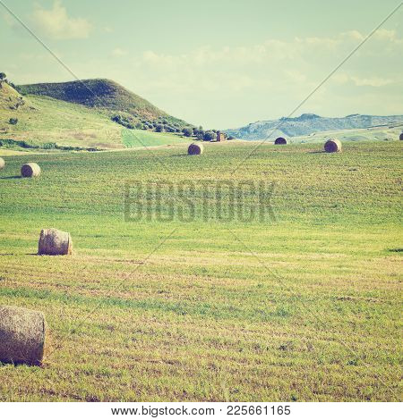 Landscape Of Sicily With Many Hay Bales, Instagram Effect
