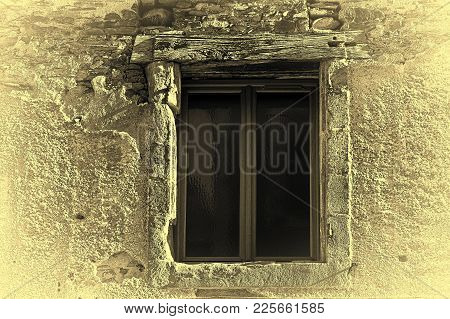 Dilapidated Window In A Medieval French City, Stylized Photo