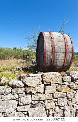 Wine In Barrel On Vineyard In Tuscany. Old Oak Barrel In Vineyard For Advertising Products In Italy