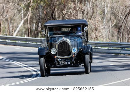 Adelaide, Australia - September 25, 2016: Vintage 1956 Mg A Roadster Driving On Country Roads Near T