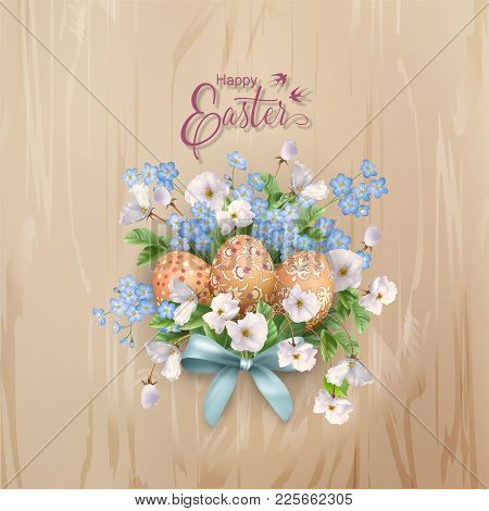 Happy Easter Card. Vector Spring Flowers And Eggs On Wooden Background