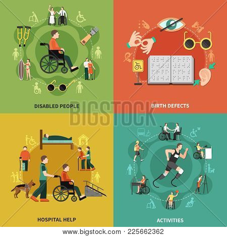 Disabled Person Icon Set With Disabled People Birth Defects Hospital Help And Activities Description