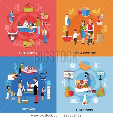 Supermarket People Design Concept With Family Shopping, Fresh Foods, Seller And Customer, Cash Desk