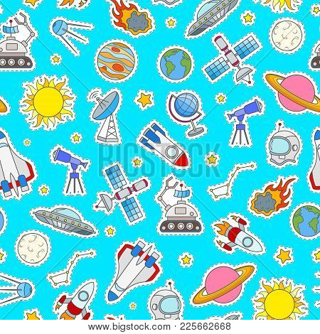 Seamless Pattern On The Theme Of Space And Space Travel Color Patch Icons On Blue Background