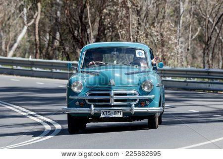 Adelaide, Australia - September 25, 2016: Vintage 1953 Vauxhall Wyvern Sedan Driving On Country Road