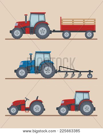 Set Of Farm Tractors Isolated On Beige Background. Heavy Agricultural Machinery For Field Work. Flat