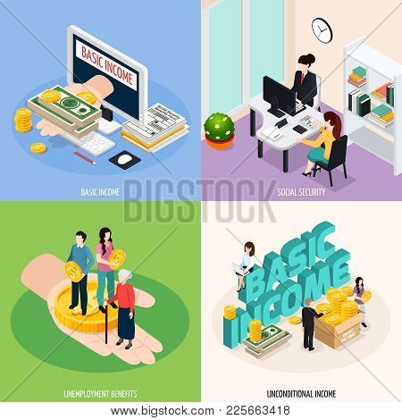 Social Security Concept Icons Set With Basic Income Symbols Isometric Isolated Vector Illustration