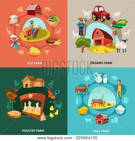 Four Squares Farm Cartoon Concept Set With Eco Organic Milk And Poultry Farms Descriptions Vector Il
