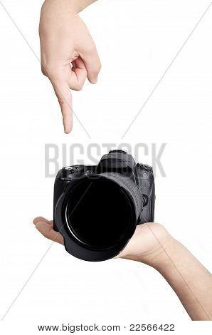 Pushing Button On Camera