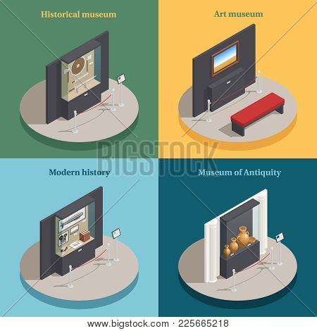 Art Museum Showcase 4 Isometric Icons Concept Square Composition With Historical Antique Display Cas
