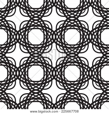 Abstract Minimalistic Seamless Pattern With Repeating Interweaving Oval Geometric Shapes In Monochro