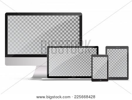 Electronic Gadgets, Isolated, On White Background.