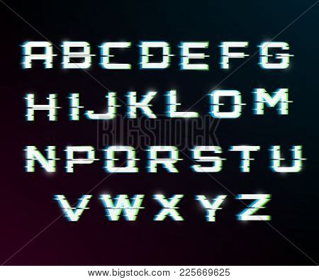 Vector Distorted Glitch Font.