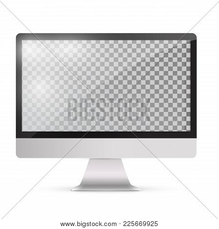 Abstract Monitor In Imac Style Black Color With Blank Touch Scre