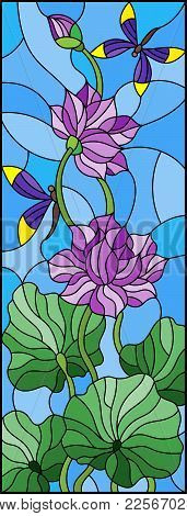 Illustration In Stained Glass Style With Lotus Leaves And Flowers, Purple Flowers And Dragonflies On