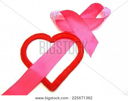 Red Heart Intertwined With A Pink Ribbon