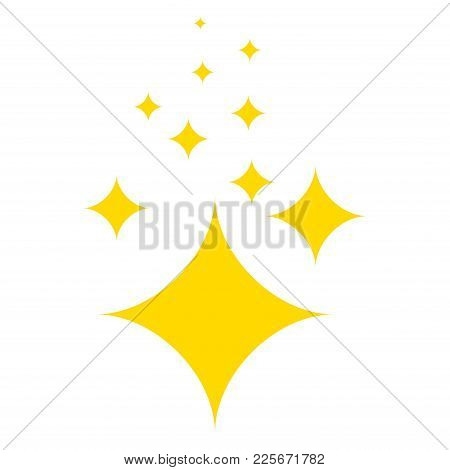 Shine. Yellow Stars Of Brilliance And Radiance Of Cleanliness And Freshness. Cleaning, Fresh And Hyg