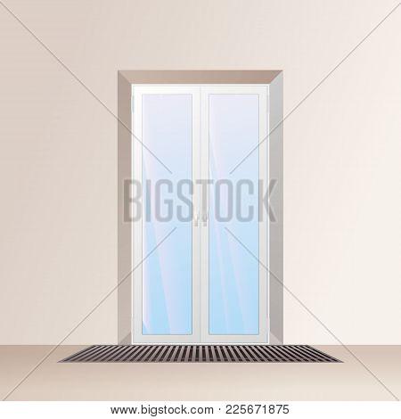 Underfloor Convector Under The Window. Heating System Vector Illustration.