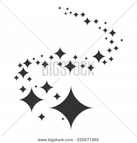 Shine. Black Stars Of Brilliance And Radiance Of Cleanliness And Freshness. Cleaning, Fresh And Hygi