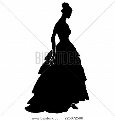 Silhouette Of A Young Pretty Woman In Long Dress With Frill, Fluffy Skirt, Corsage. Bride Silhouette