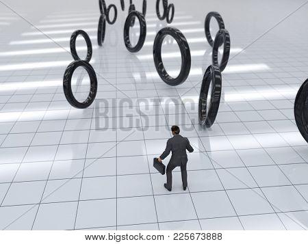 crisis time, businessman catches rolling zeros, 3d illustration