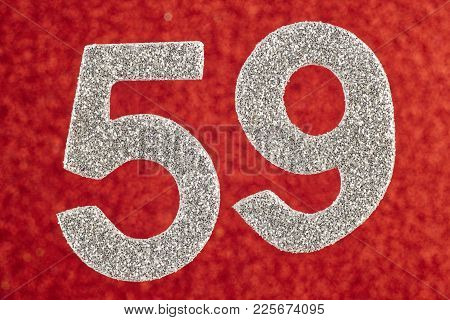 Number Fifty-nine Silver Color Over A Red Background. Anniversary. Horizontal