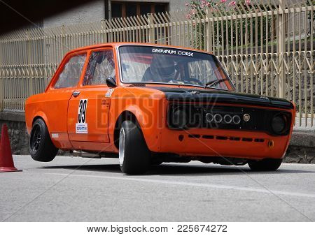 Favale Di Malvaro Italy - July 19 2015 - Uphill Speed Race Favale Castello: A Fiat 128 Prototype Eng