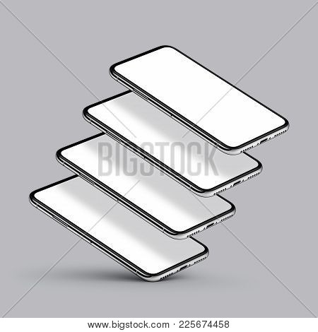 iPhone X style perspective smartphone multi screen mockup on gray background. Several perspective view smartphones with blank screens hovering one above other. Smartphone multi screen mockup. 3D illustration.