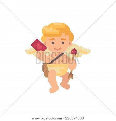 Cute Cupid With An Arrow In One Hand And A Greeting Card In Another. Valentines Day Flat Character I