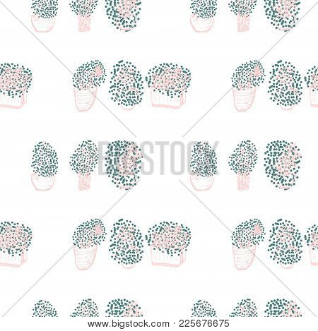 Hand Drawn Creative Trendy Graphic Vector Succulent Cactus Plant Seamless Pattern. Artistic Nature P