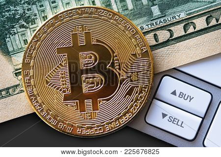 Top View Closeup Exchange Trading Cryptocurrency Concept With One Bitcoin Golden Coin On American Do