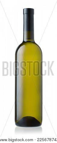 Front view of unlabeled white wine bottle isolated on white